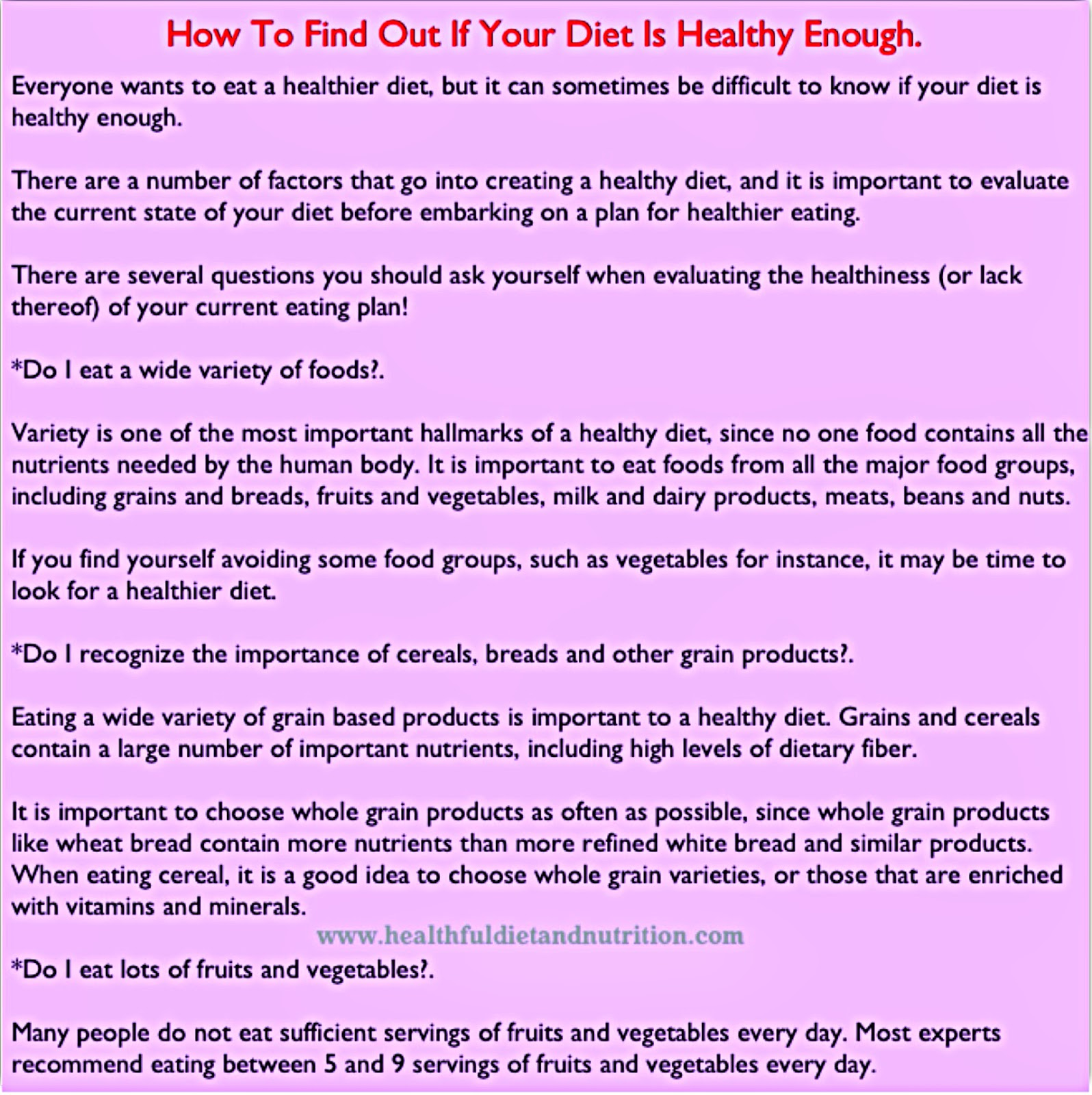 How To Find Out If Your Diet Is Healthy Enough.