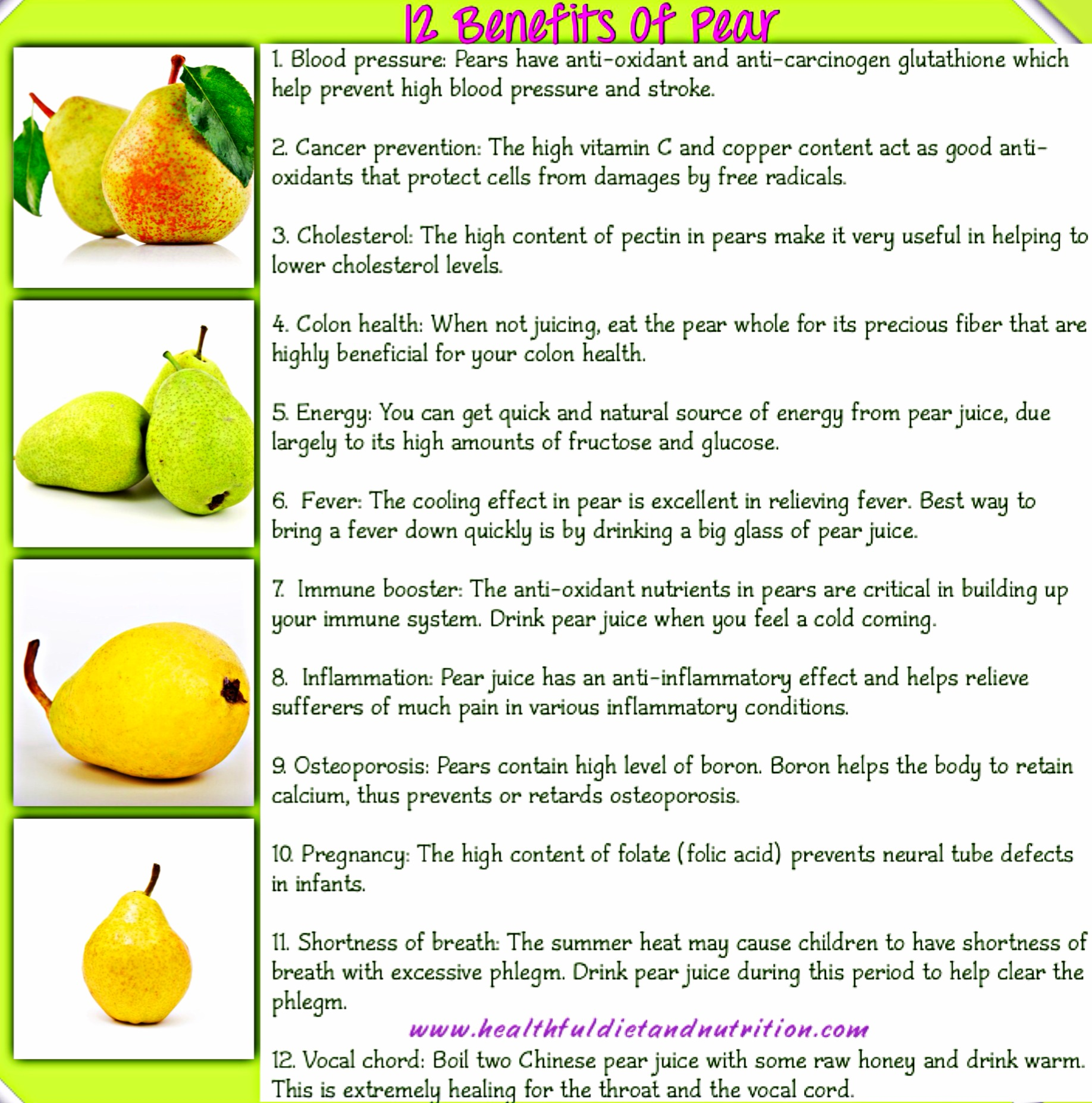 12 Health Benefits of Pear Fruit