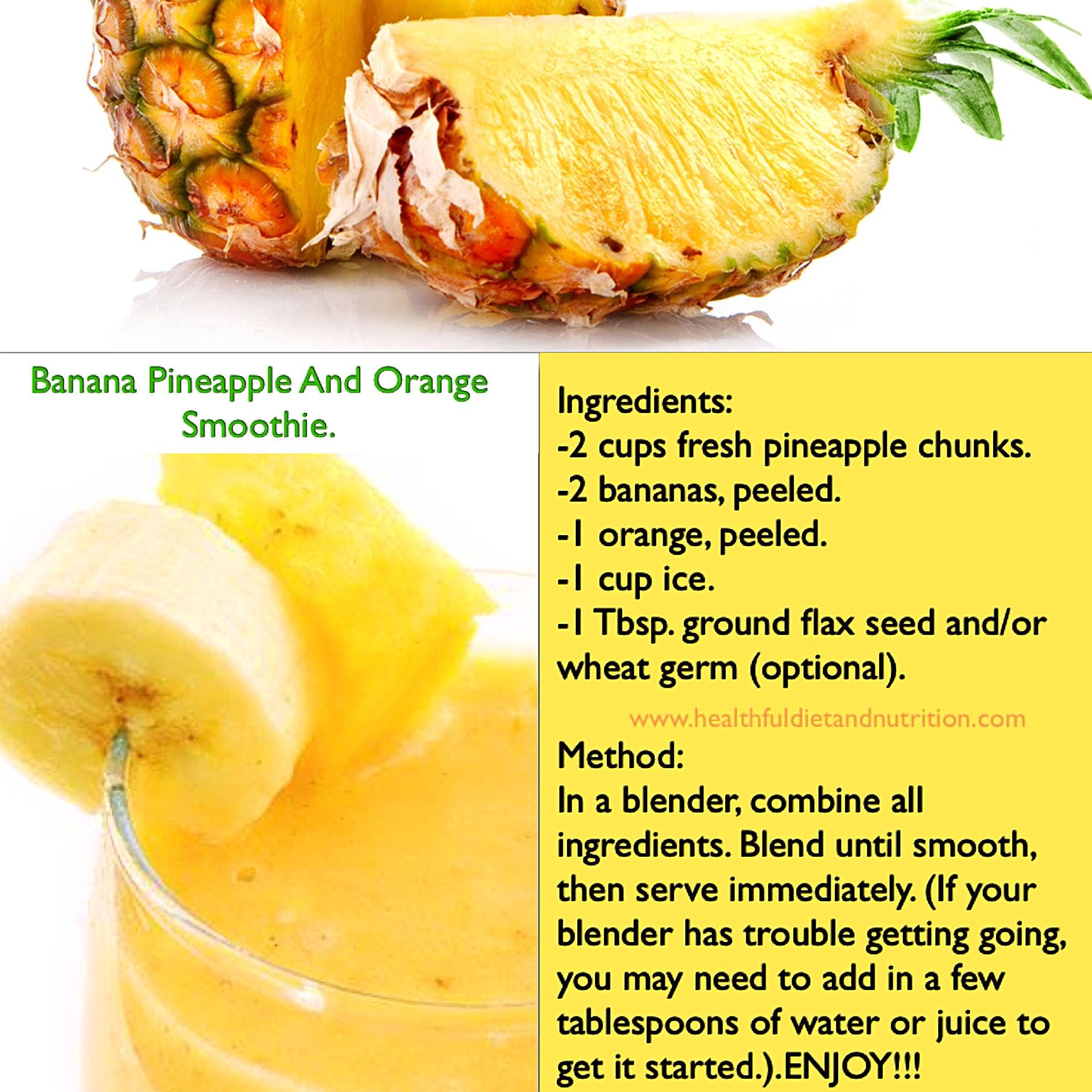 Banana, Pineapple And Orange Smoothie