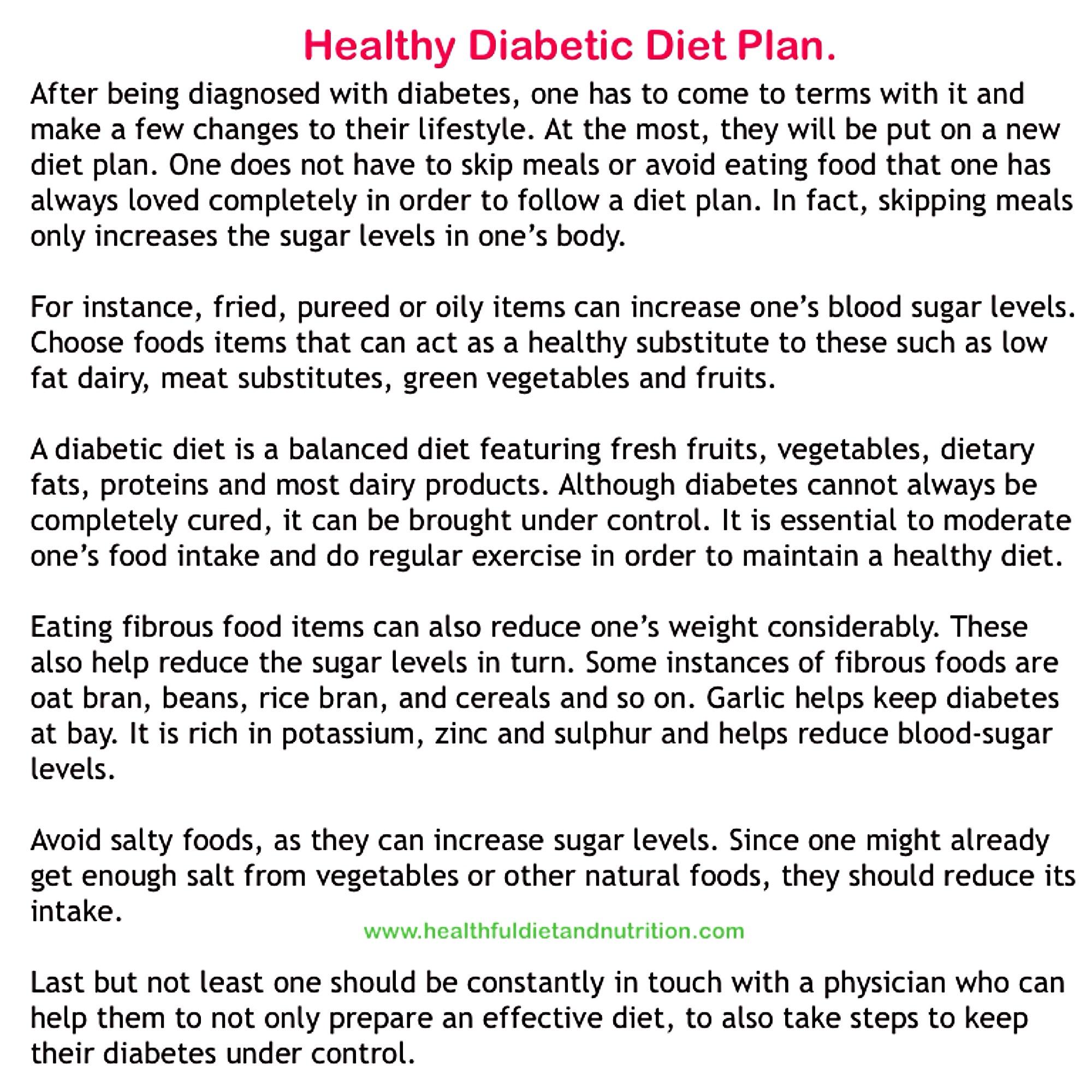 Healthy Diabetic Diet Plan